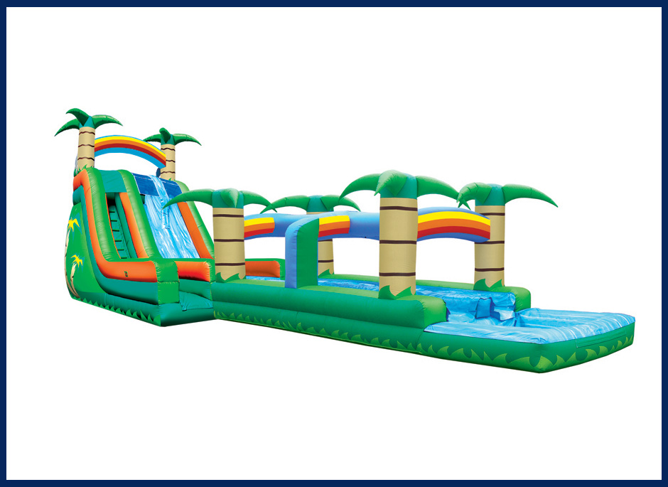 Tropical  Double Lane Water Slide with Pool