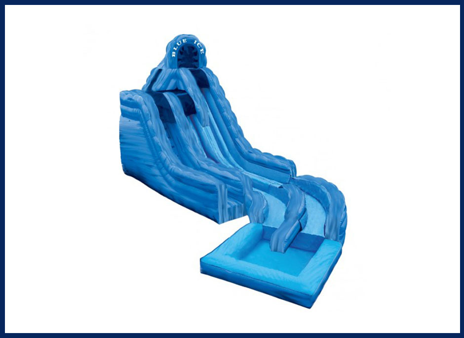 Blue Ice Double Lane Water Slide with Pool